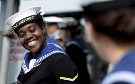 Smiling Navy officer